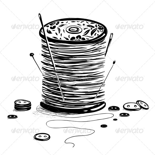 GraphicRiver Spool of Thread with Needles and Buttons 4765277