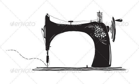 GraphicRiver Vintage Sewing Machine Ink Illustration 4765306