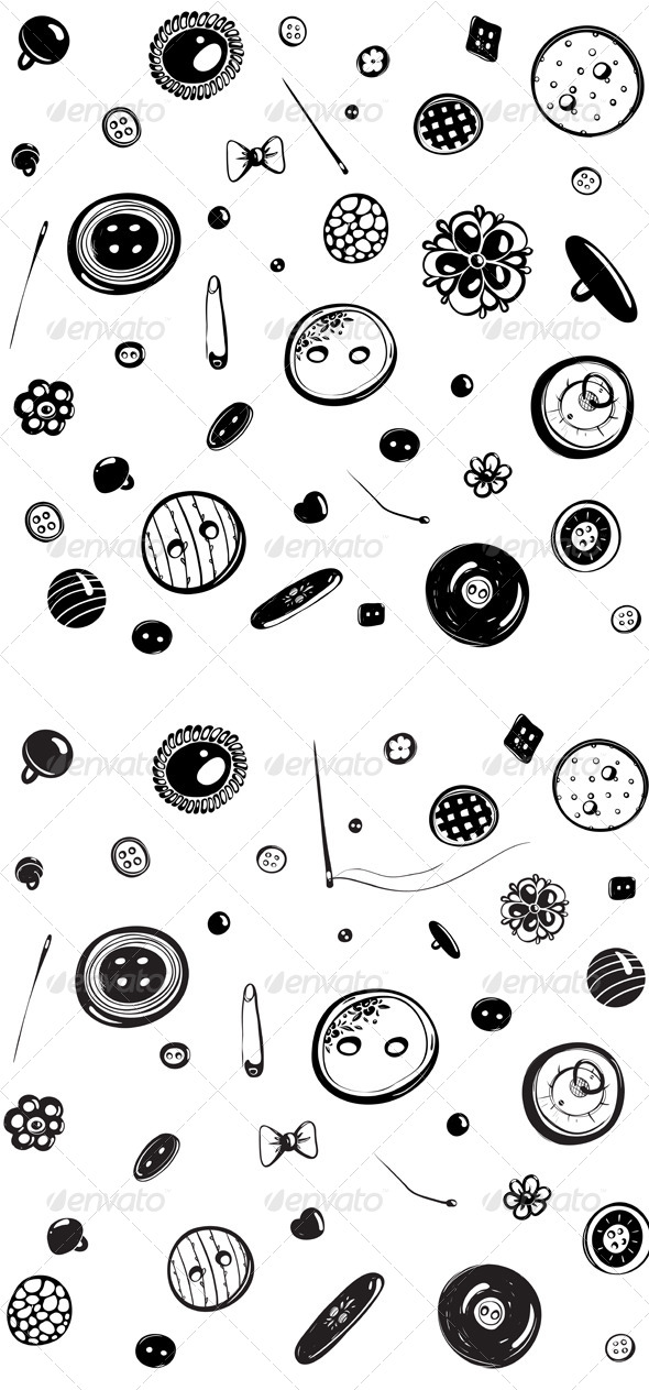 Buttons and Needles Seamless Pattern Ink Drawing