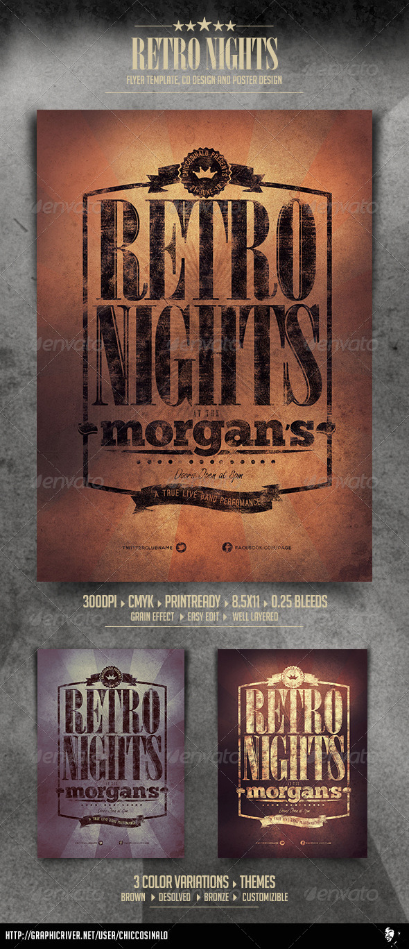 Retro Nights Flyer Template - Clubs & Parties Events