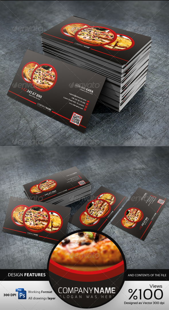 GraphicRiver Pizza Time Business Card 4353787