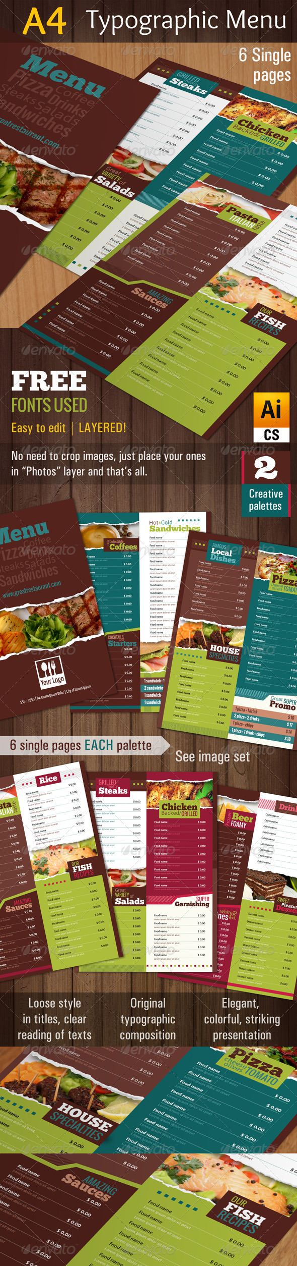 GraphicRiver A4 Typographic Menu 4765673
