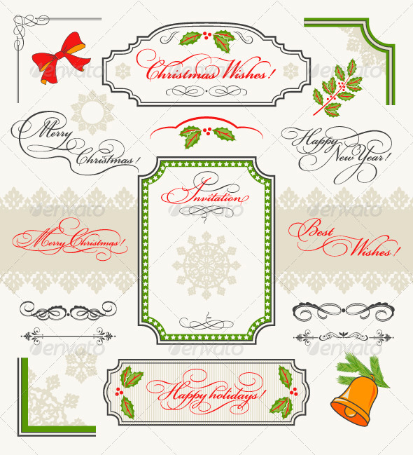 GraphicRiver Christmas Collection Calligraphic Design Elements 4765913
