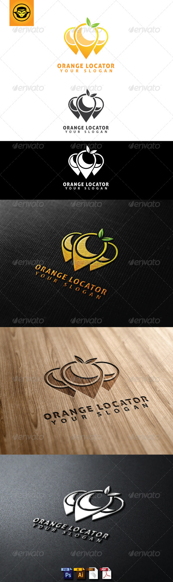 GraphicRiver Orange Locator Logo Template 4765968