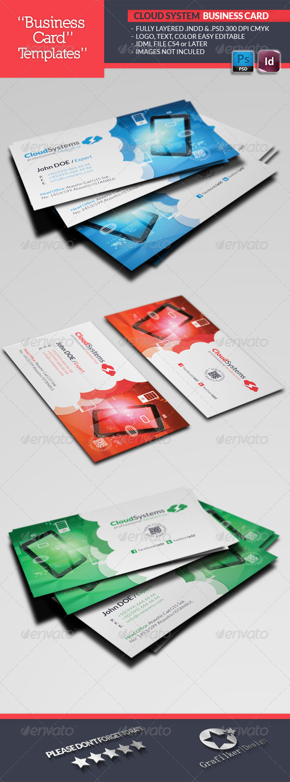 GraphicRiver Cloud Systems Business Card Template 4694872