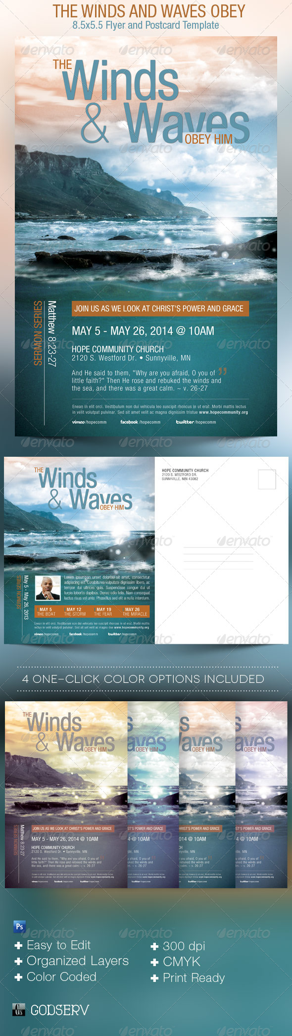 Winds and Waves Obey Him Church Flyer Template - Church Flyers