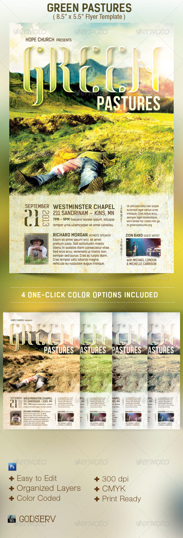 GraphicRiver Green Pastures Church Flyer Template 4766281