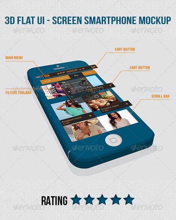 3D Flat UI Screen Smartphone Mockup