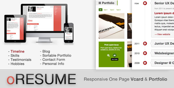 oRESUME - Responsive Vcard & Portfolio