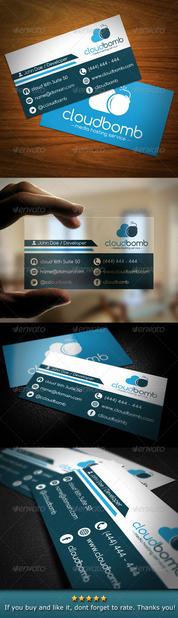GraphicRiver Media Cloud Bomb Business Card 4766885