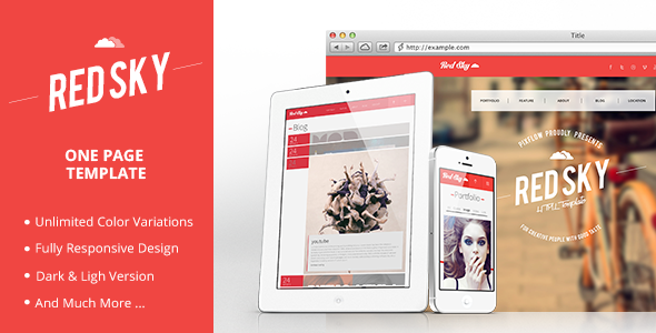 ThemeForest Red Sky One Page Template 4751208