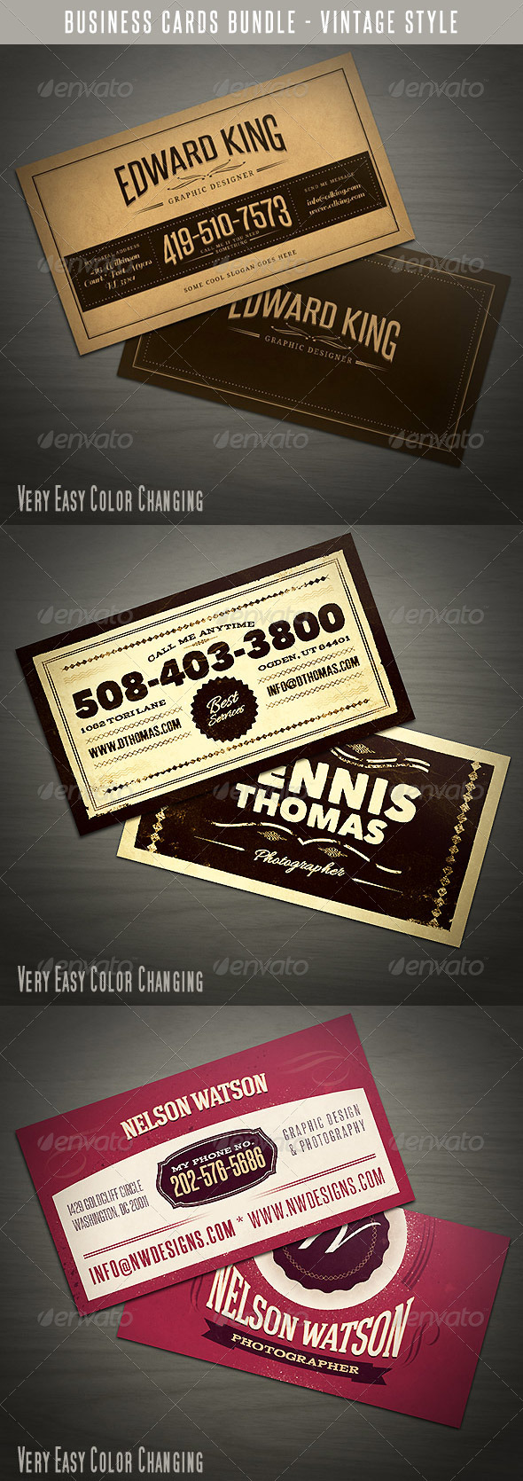 Vintage Business Cards Bundle - Retro/Vintage Business Cards