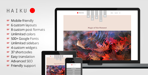 ThemeForest Haiku Portfolio and Blogging WordPress Theme 4759365