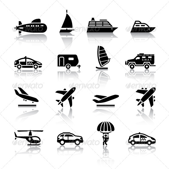 GraphicRiver 16 Transport Icons 4768962