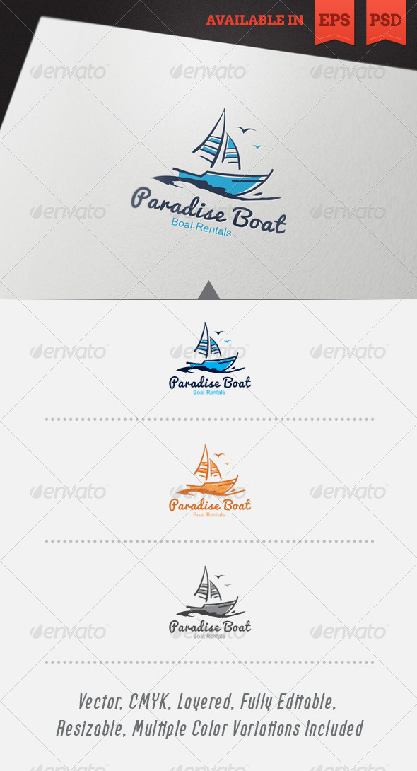 GraphicRiver Paradise Boat Logo Template 4768971