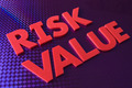 Risk value word on blue neon background - PhotoDune Item for Sale