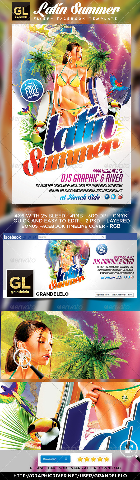 GraphicRiver Latin Summer Party Flyer 4769089