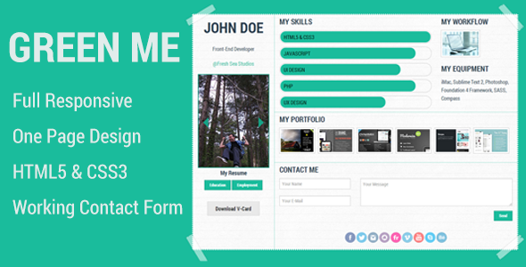 ThemeForest Green Me Responsive Personal Page Template 4754359