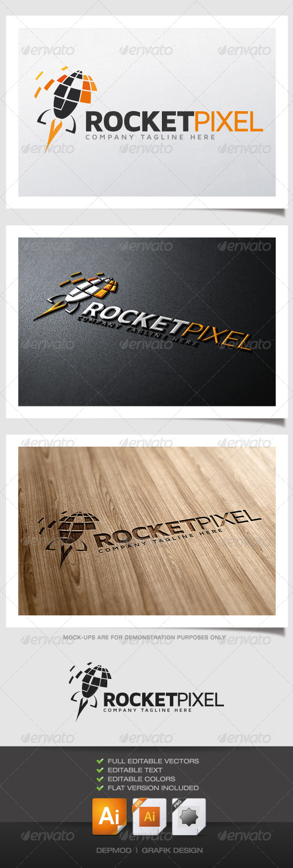 GraphicRiver Rocket Pixel Logo 4769219
