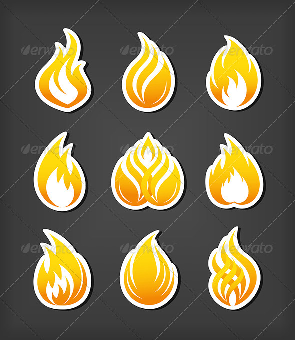 GraphicRiver Fire Paper Cut Icons 4769326