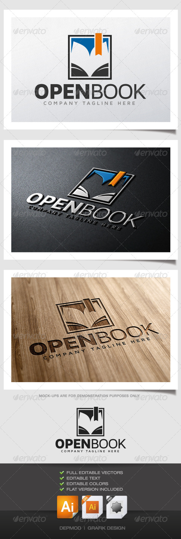GraphicRiver Open Book Logo 4769464