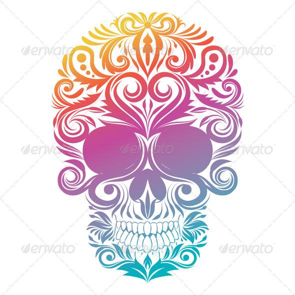 GraphicRiver Floral Decorative Skull 4769667