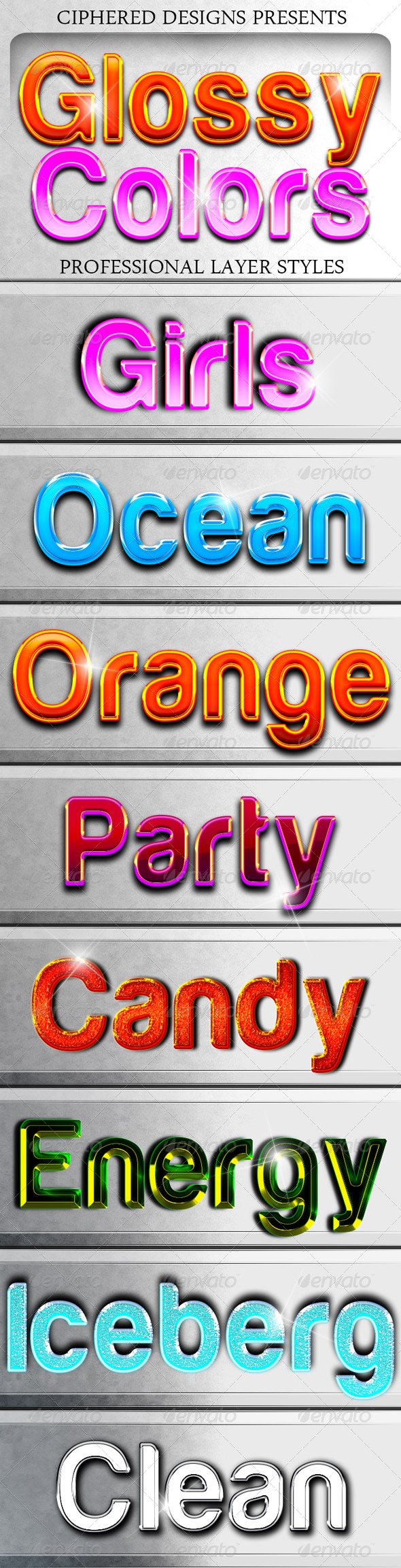 GraphicRiver Glossy Colors Professional Layer Styles 4769668