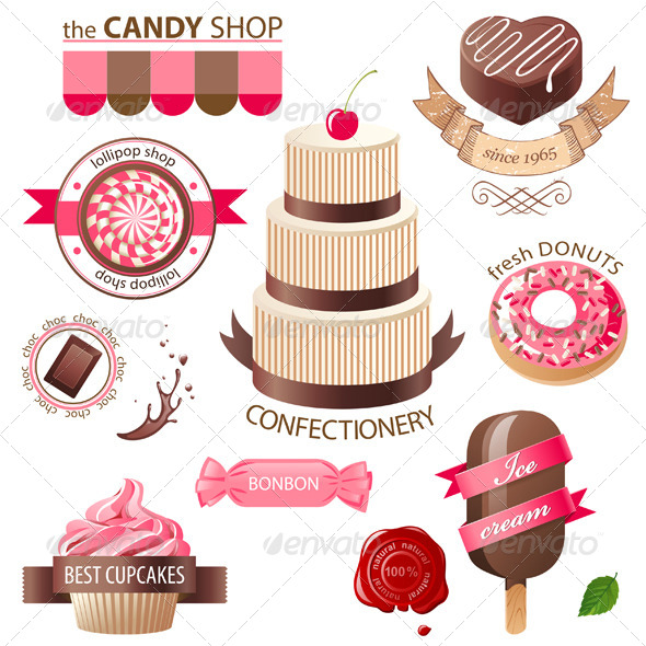 GraphicRiver Sweets and Candies Emblems 4769693