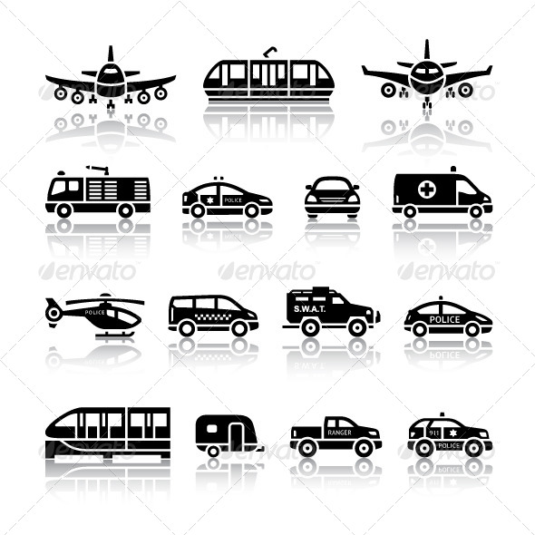 GraphicRiver 16 Transport Icons 4770718