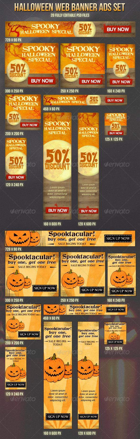 Halloween Banner Ads Set