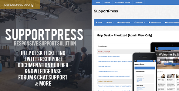 SupportPress is an all-in-one solution for help desk and support sites. It combines a ton of the best features of support themes into one great, responsive them