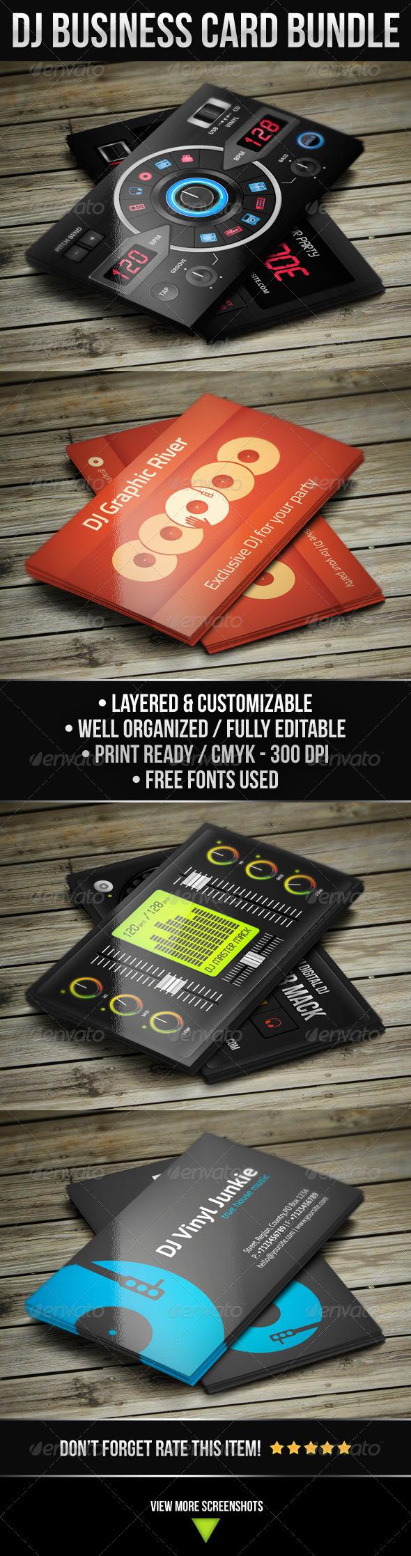 GraphicRiver DJ Business Card Bundle 4771667