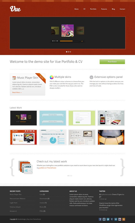 Vue - Portfolio & CV WordPress Theme - Red Skin