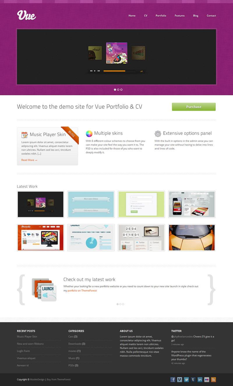 Vue - Portfolio & CV WordPress Theme - Pink Skin