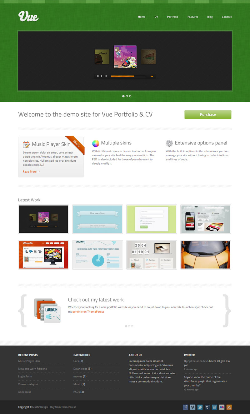 Vue - Portfolio & CV WordPress Theme - Green Skin