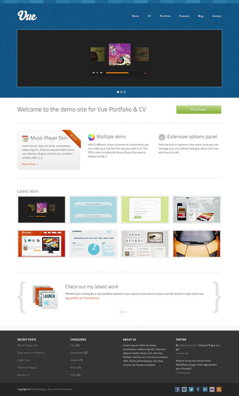 Vue - Portfolio & CV WordPress Theme - Blue Skin