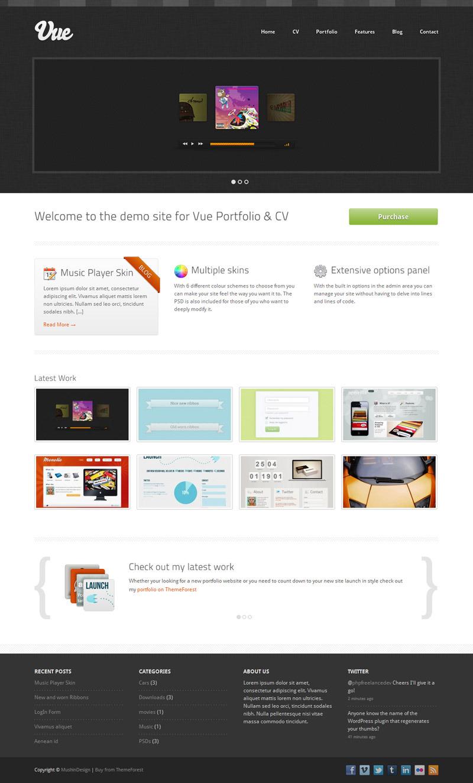 Vue - Portfolio & CV WordPress Theme - Dark Skin