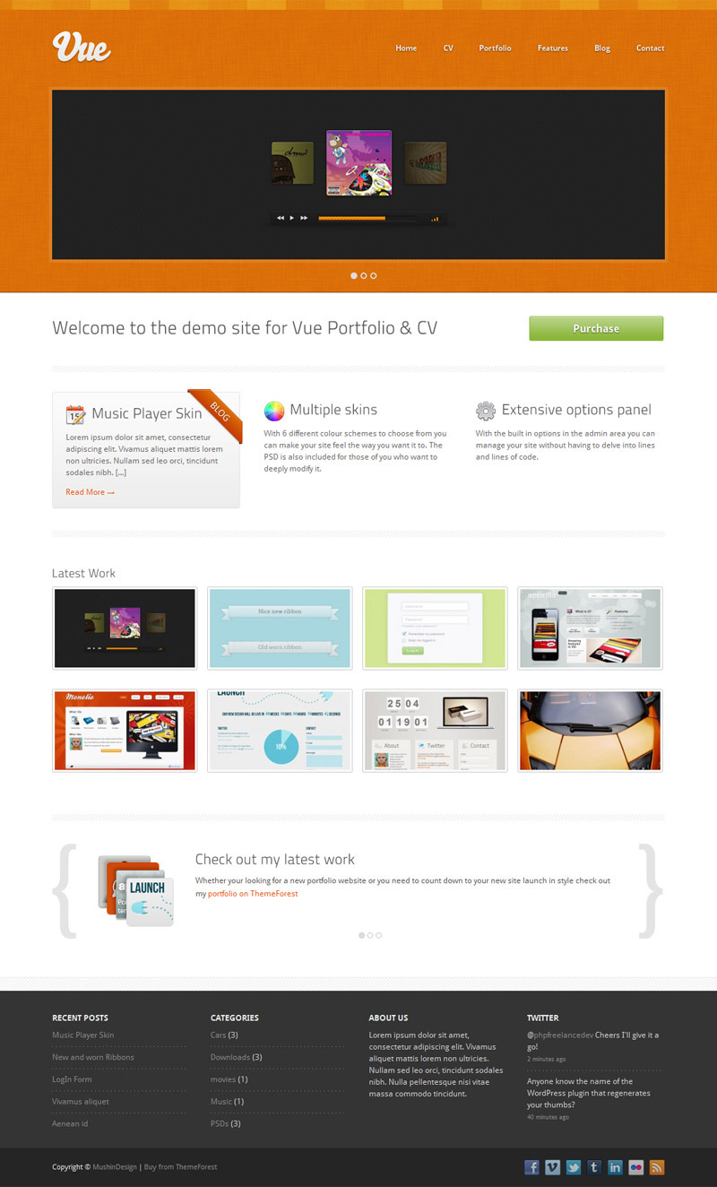 Vue - Portfolio & CV WordPress Theme - Orange Skin