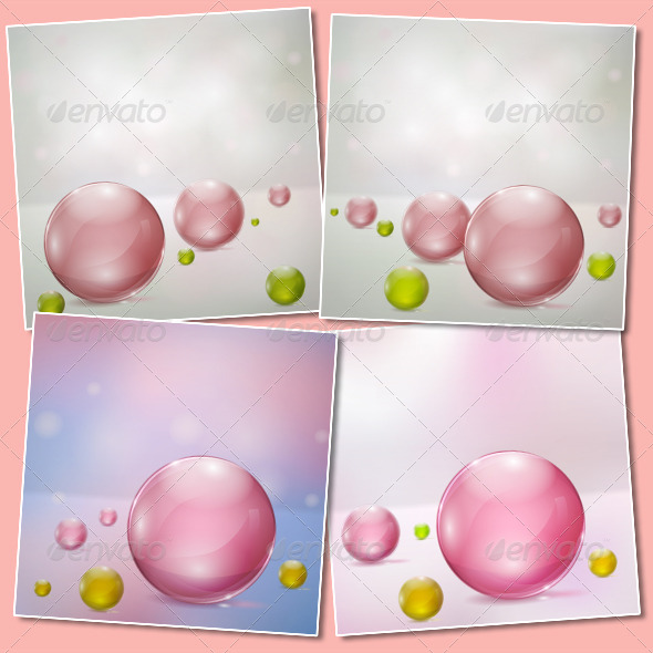 Abstract Backgrounds with Glass Spheres - Backgrounds Decorative