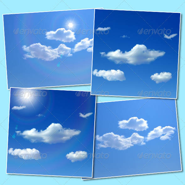 GraphicRiver Sky Backgrounds with Clouds and Sun 4772504