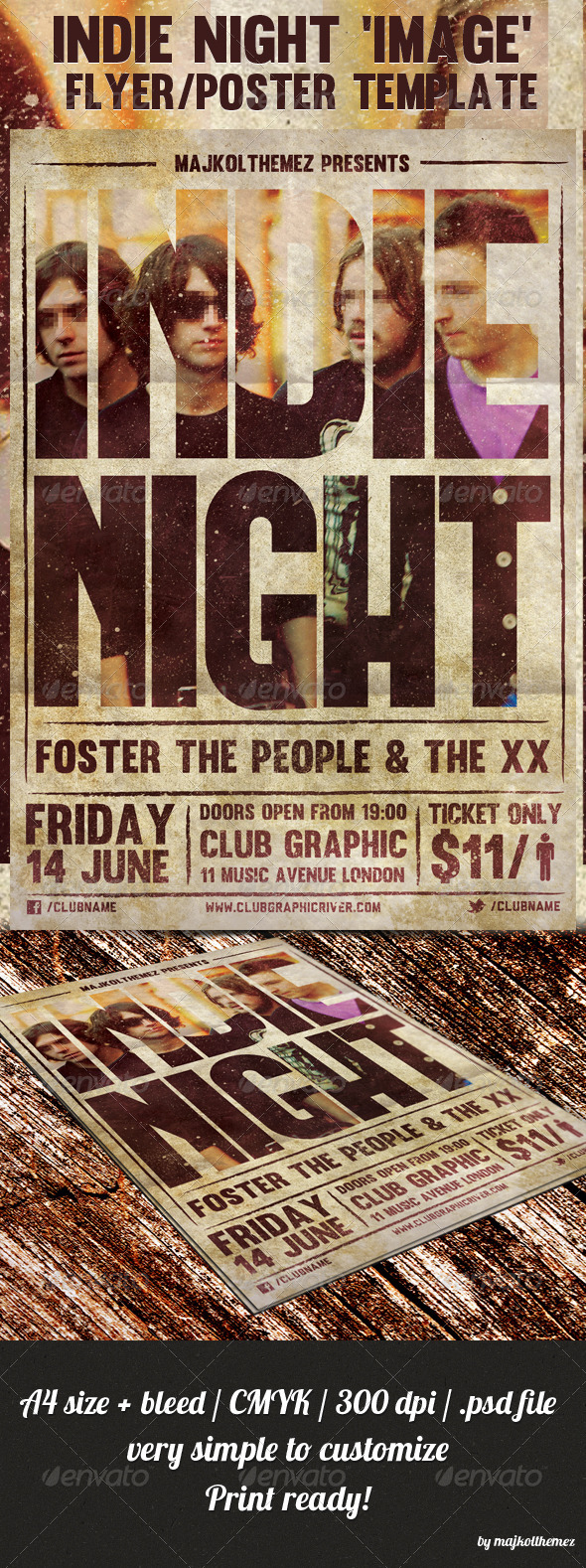 Indie Night Image Flyer/Poster Template - Concerts Events