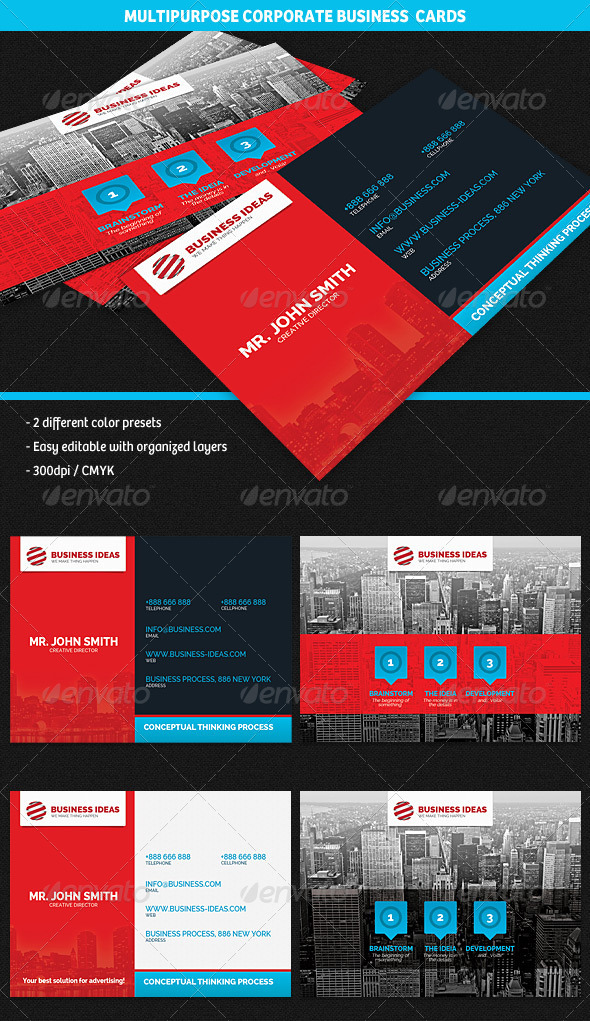 GraphicRiver Multipurpose Corporate Business Cards 4772793