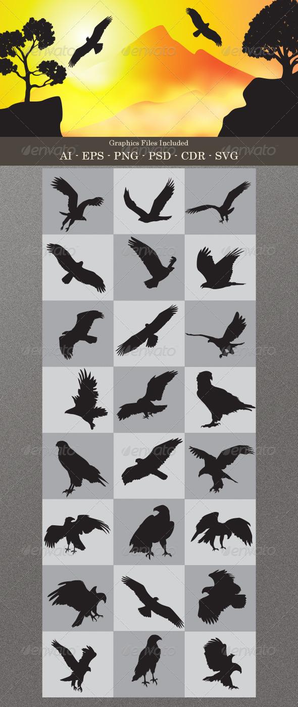 GraphicRiver Eagle Silhouettes 4773056