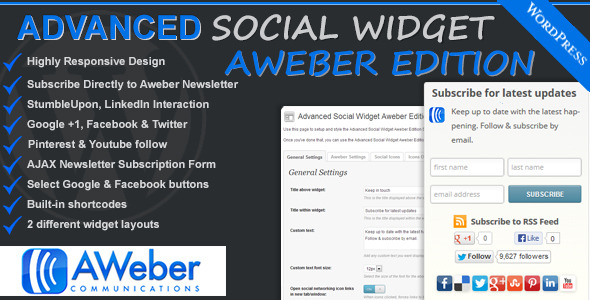 Advanced Social Widget Aweber Edition (WordPress) images