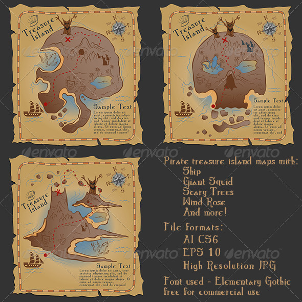 GraphicRiver Pirate Treasure Maps Vector Illustrations Pack 4776689