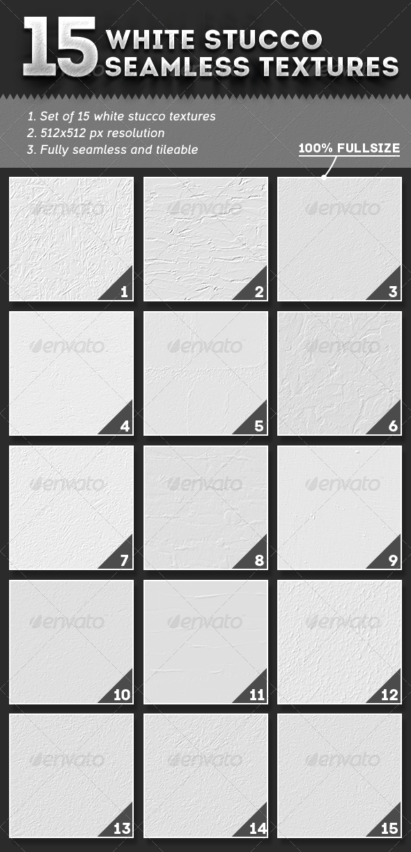 GraphicRiver 15 Seamless White Stucco Textures 4776871