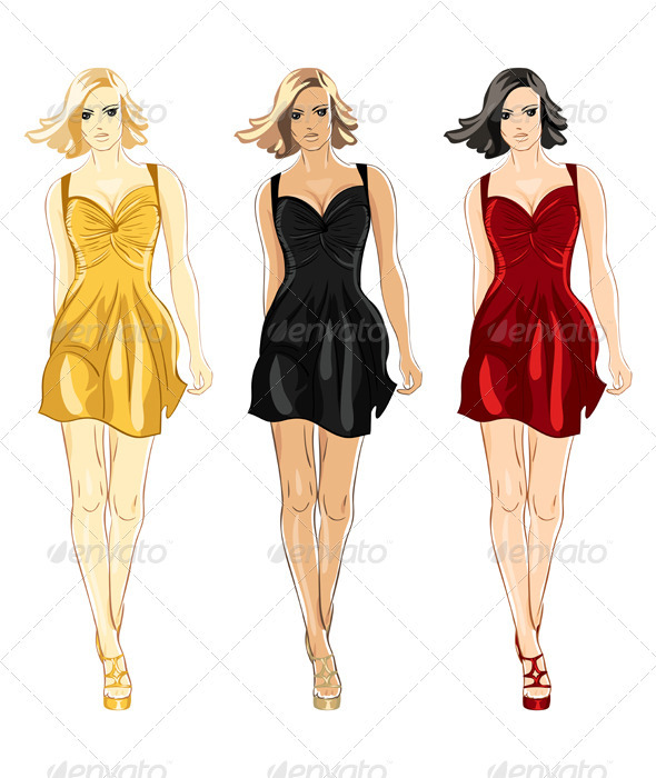 Vector Set of Black Red and Gold Little Dress