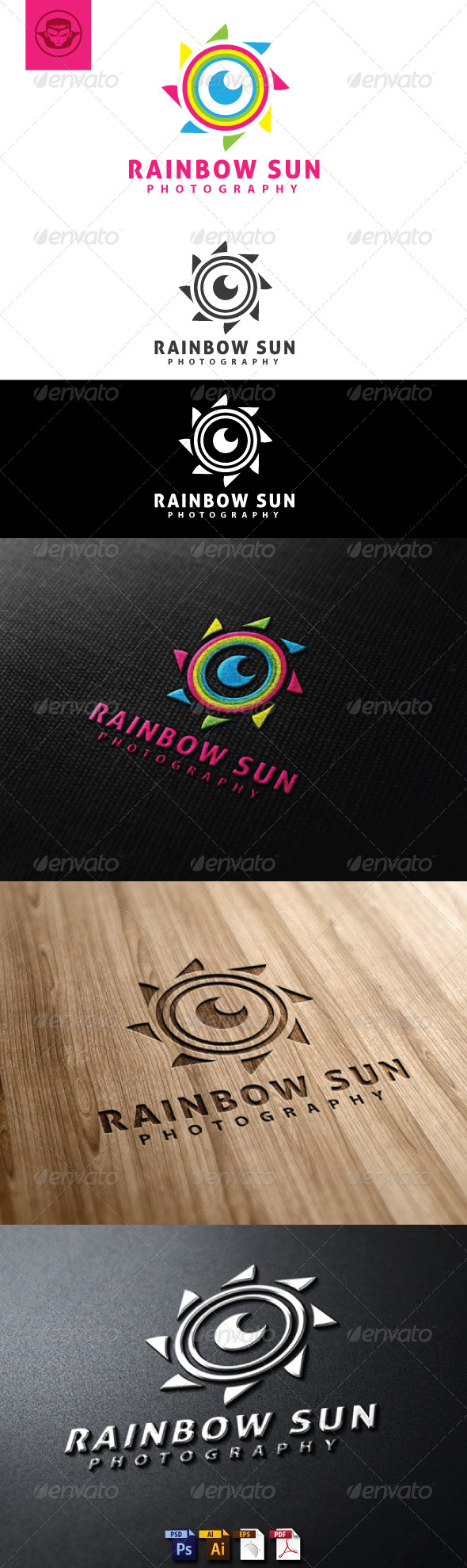 GraphicRiver Rainbow Sun Logo Template 4777305