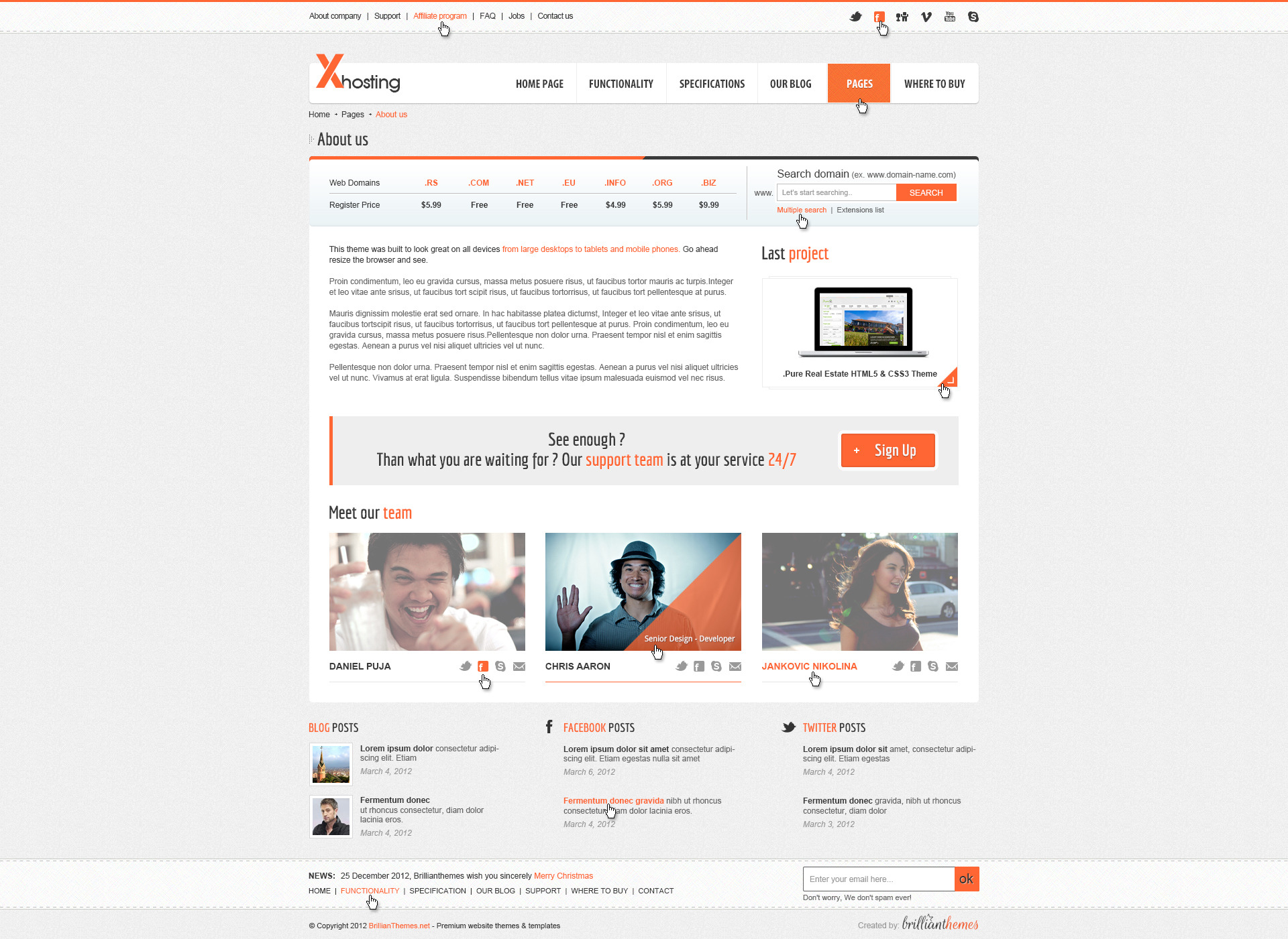 Xhosting Responsive HTML5 & CSS3 Template
