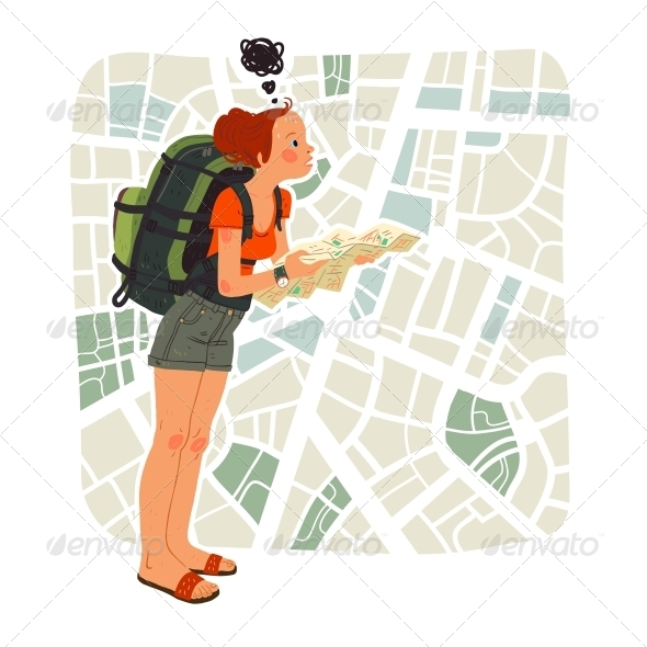 GraphicRiver Tourist Girl with Map in the City 4778365